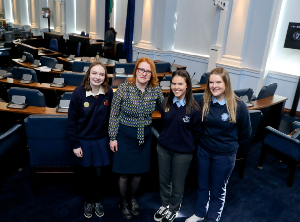 Emma Whitney, Convent of Mercy Roscommon, Co Roscommon, Senator Alice-Mary Higgins, Katelin Vaughan, Mary Immaculate Secondary School, Co.Clare and Anna Ní Laoi, Scoil Chuimsitheach Chiaráin, Co. na Gaillimhe