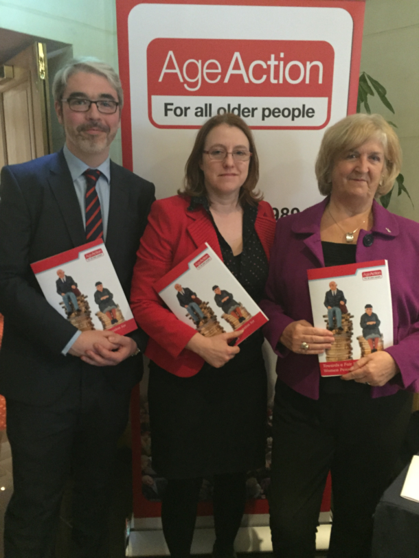 Senator Alice-Mary Higgins launches Age Action report with Justin Moran and Maureen Bassett