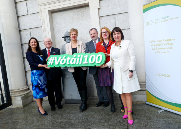 Senator Alice-Mary Higgins launching Votail100 with other members of the Oireachtas
