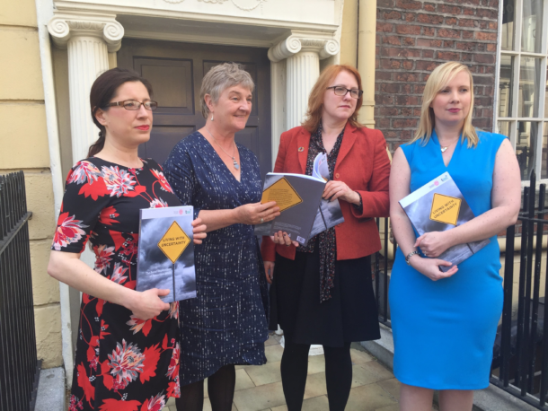 Senator Higgins with Dr Mary Murphy, Alicja Bobek and Sinead Pembroke at the launch of the TASC Report on Precarious Work