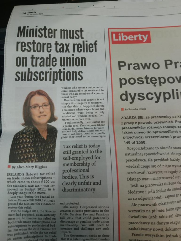 Minister must restore tax relief on trade union subscriptions