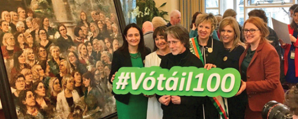 Members of the Oireachtas Vótáil 100 Committee with artist Noel Murphy at the unveiling of a portrait to mark the centenary of women's suffrage.