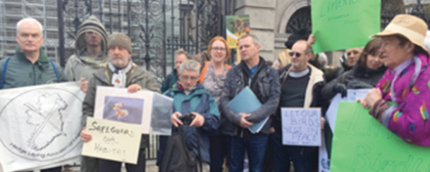 Joining beekeepers, bird and nature enthusiasts outside LeinsterHouse in May 2018 to oppose the Heritage Bill. While we did win some amendments, this bill remains deeply flawed and will damage wildlife habitats.