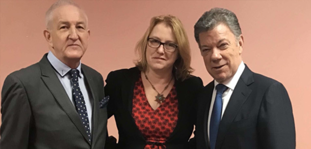 With former President Juan Manuel Santos of Columbia, recipient of the 2018 Tipperary Peace Prize. In 2008 I had the honour of jointly receiving the same award as part of the