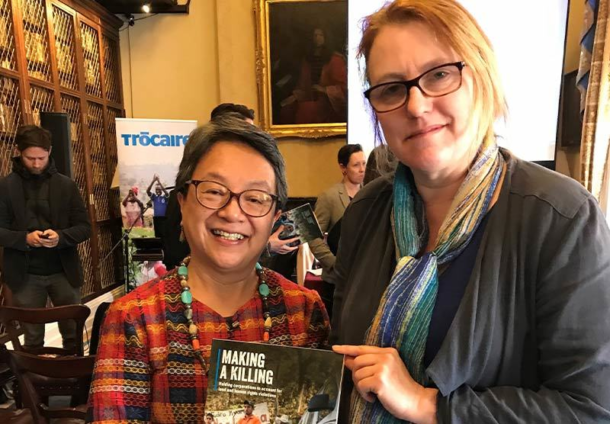 Alice-Mary with UN Special Rapporteur on the Rights of Indigeneous People, Victoria Tauli Corpuz, at the launch of the Trócaire report on corporations and human rights