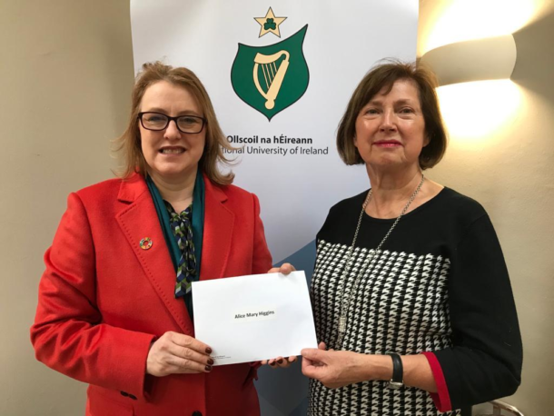 Senator Alice-Mary Higgins with Attracta Halpin, NUI, submitting her nomination papers